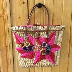 Embroidered Flower Straw Purse